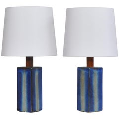 Danish Modern Pair of Large Blue Table Lamps from Søholm Stoneware, 1960s