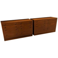 Danish Modern Pair of Walnut Dressers Chest of Drawers Commodes