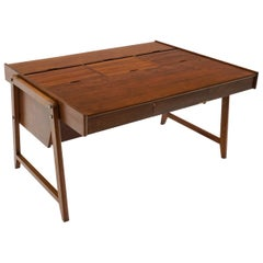 Danish Modern Partners Desk, Large Surface with Roll Top File Cabinets on Top