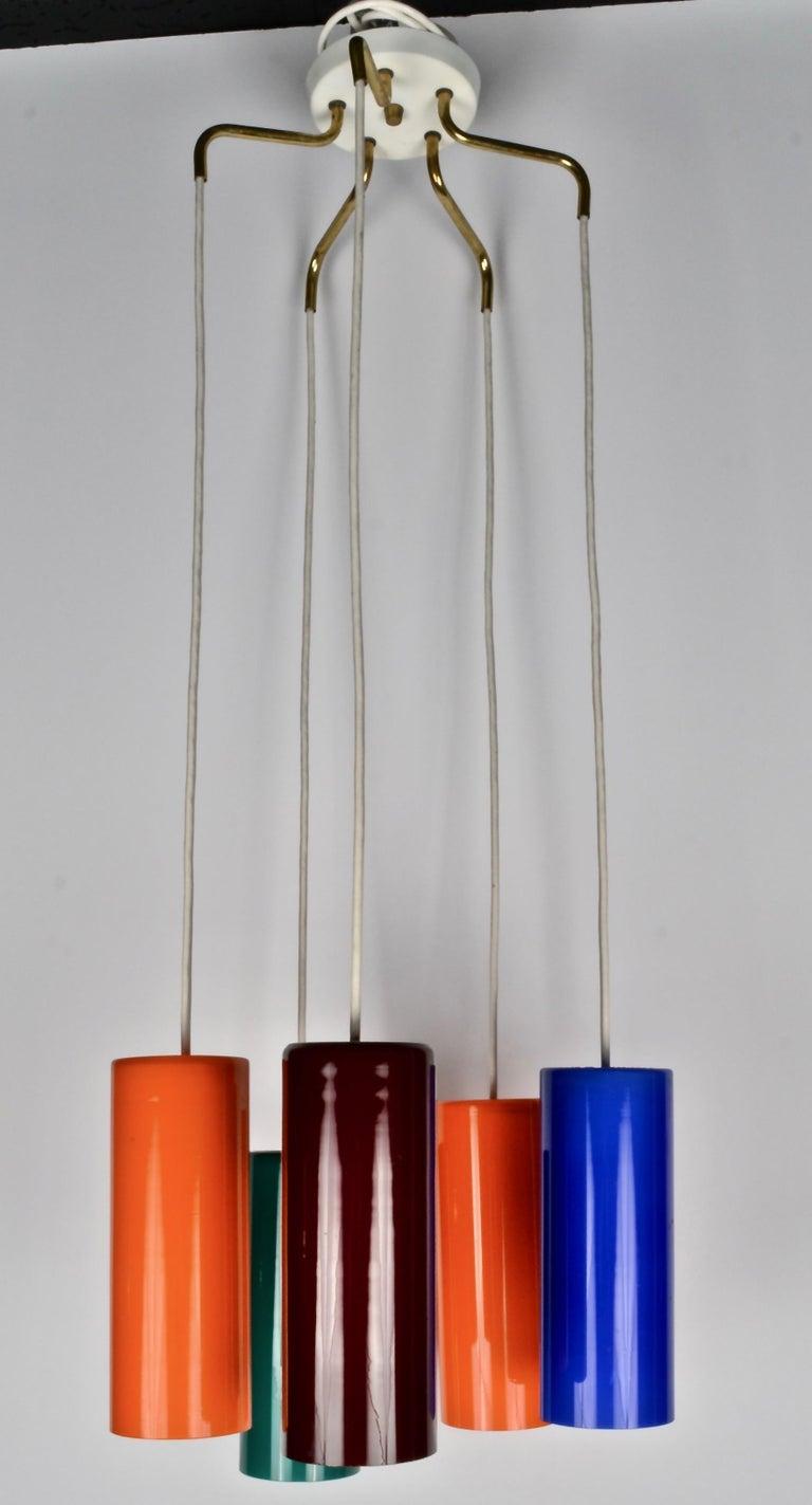 Art Glass Danish Modern Pendant Chandelier, 1960s For Sale
