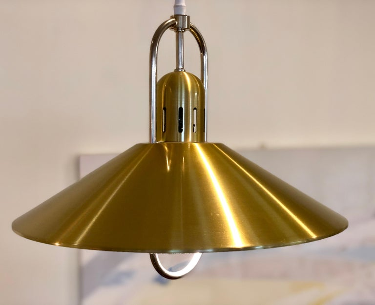 Plated Danish Modern Pendant Light Fixture For Sale