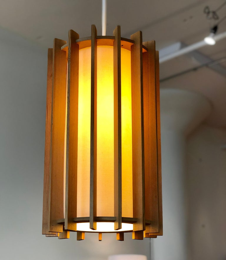 Scandinavian Modern Danish Modern Pendant Light Fixture with Fir Slats For Sale