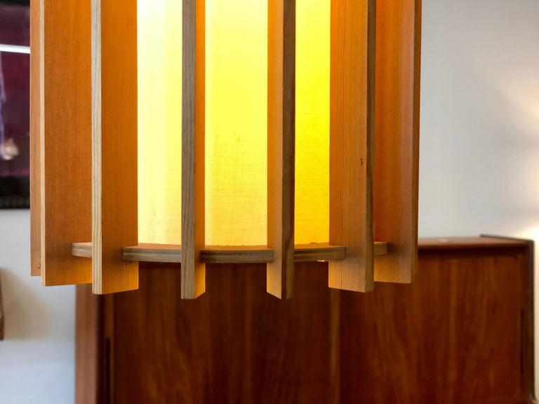 Oiled Danish Modern Pendant Light Fixture with Fir Slats For Sale
