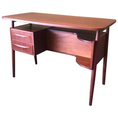 Danish Modern Petite Teak Desk by Gunnar Nielsen for Tibergaard