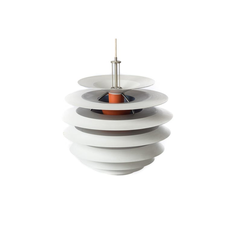 Danish modern PH Kontrast pendant lamp designed by Poul Henningsen for Louis Poulsen, Denmark. The PH Kontrast consists of ten tiers in a combination of flame orange, white and polished chrome, with blue & red accents on the interior which help