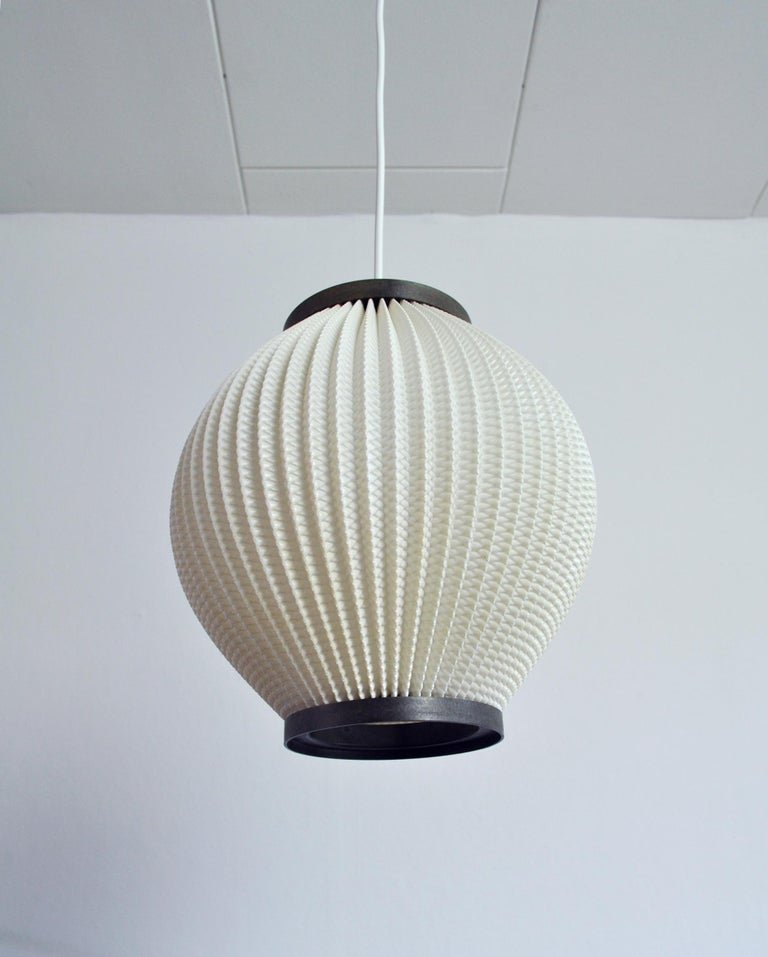 Mid-20th Century Danish Modern Pleated Pendant by Hoyrup Light, 1960s For Sale