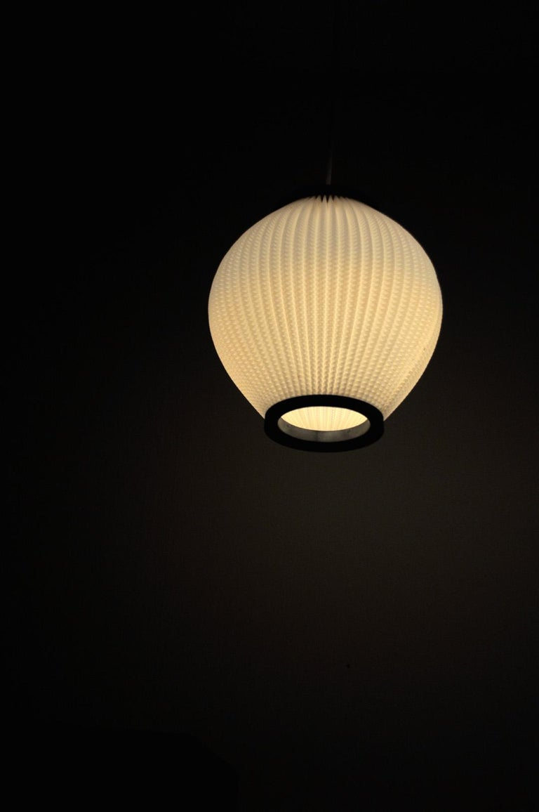Danish Modern Pleated Pendant by Hoyrup Light, 1960s For Sale 1