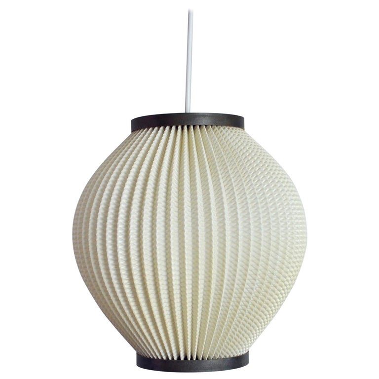 Danish Modern Pleated Pendant by Hoyrup Light, 1960s For Sale