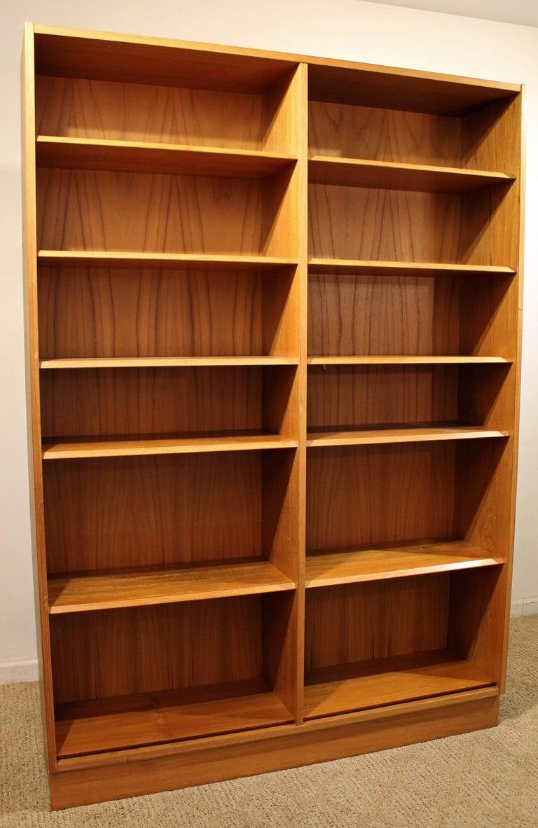 Danish Modern Poul Hundevad Teak Double Bookcase at 1stdibs