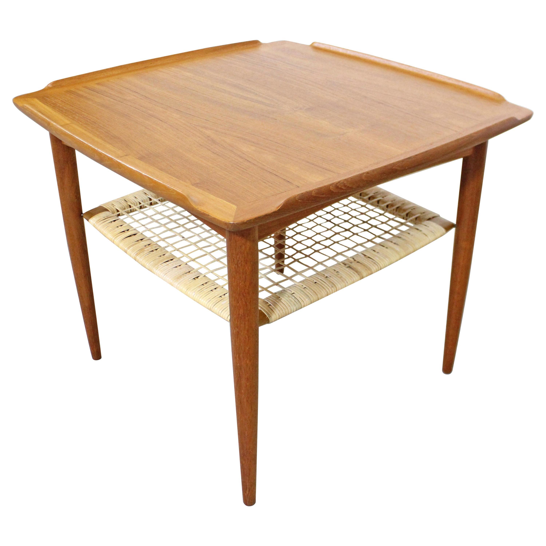 Danish Modern Poul Jensen for Selig Teak Caned Square Side Table