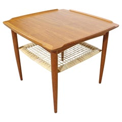 Danish Modern Poul Jensen for Selig Teak Caned Square Side Table