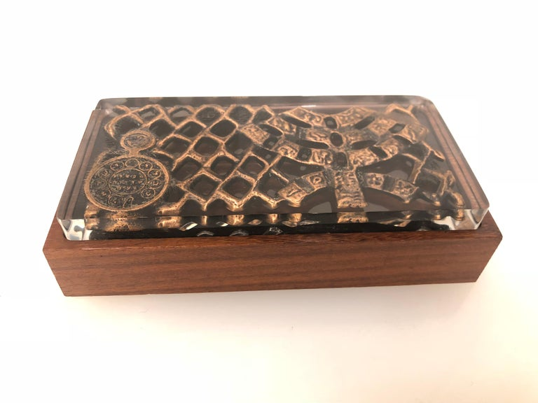 Rare and beautiful brutalist design on solid Lucite top box, and solid rosewood base, one of a kind piece of unknown designer.