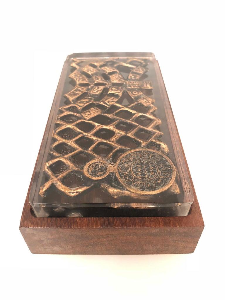 Scandinavian Modern Danish Modern Rare Lucite Top and Rosewood Base Box For Sale