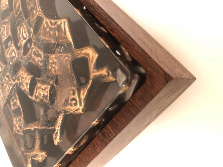 Danish Modern Rare Lucite Top and Rosewood Base Box In Good Condition For Sale In San Diego, CA