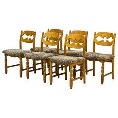"""Danish Modern """"Razorblade"""" Dining Chairs by Henning Kjaernulf, Denmark, 1960s"""