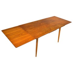 Danish Modern Rectangular Draw Leaf Dining Table in Teak and Oak