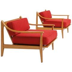 Danish Modern Red Easy Chairs