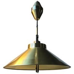 Danish Modern Rise and Fall Brass Pendant Lamp by Fritz Schlegel for Lyfa, 1960s