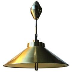 Danish Modern Rise & Fall Brass Pendant Lamp by Fritz Schlegel for Lyfa, 1960s