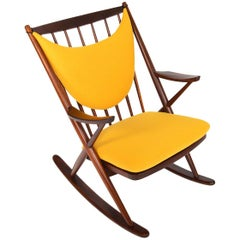 Danish Modern Rocking Chair in Canary Wool by Frank Reenskaug for Bramin