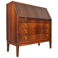 Danish Modern Rosewood and Brass Secretary Desk