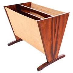 Danish Modern Rosewood and Cotton Magazine Rack