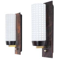 Danish Modern Rosewood and Glass Wall Sconce from Lyfa