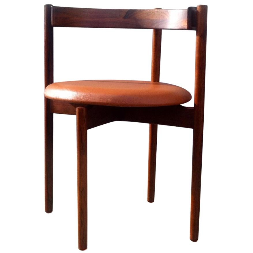 Danish Modern Rosewood and Tan Leather Armchair by Hugo Frandsen, 1960s
