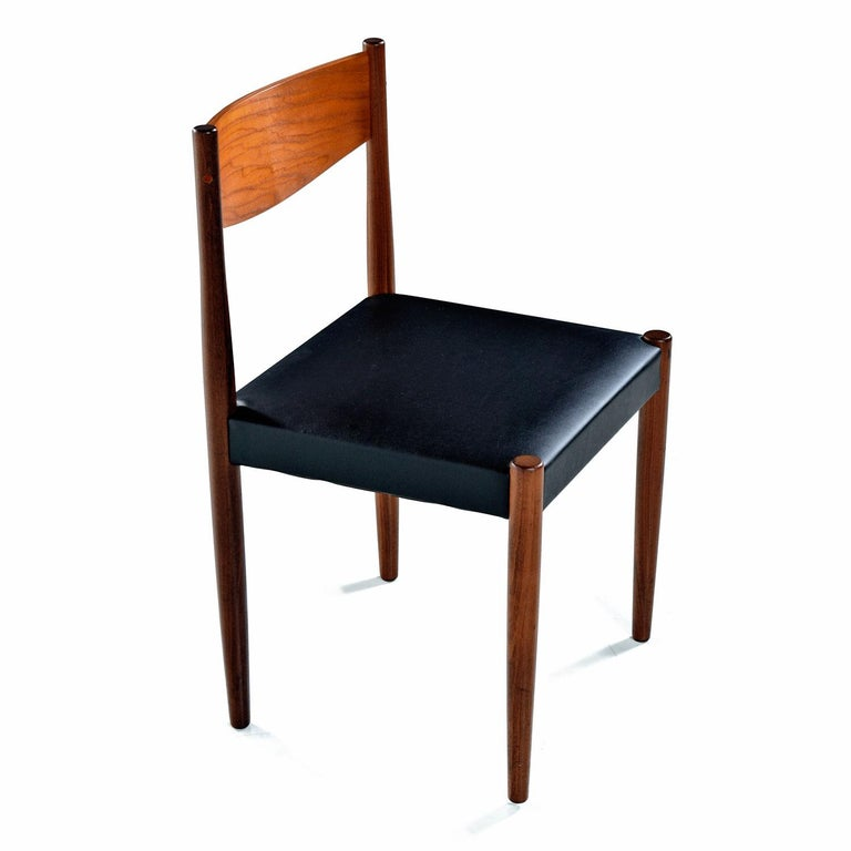Danish Modern Rosewood And Teak Dining Chairs In New Black