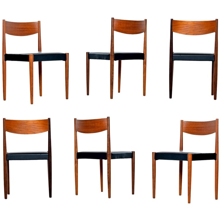 Danish Modern Rosewood And Teak Dining Chairs In New Black Vinyl