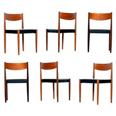 Danish Modern Rosewood and Teak Dining Chairs in New Black Vinyl Upholstery
