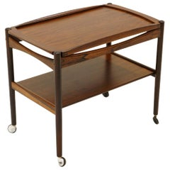 Danish Modern Rosewood Bar / Serving Cart, Removable Tray, Chrome Casters