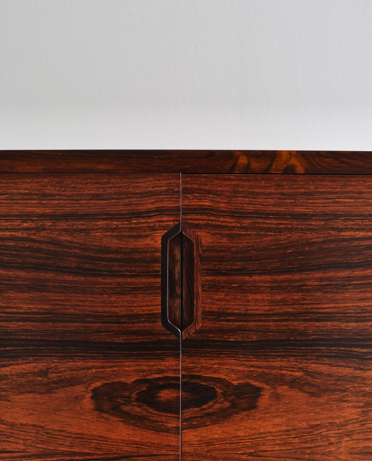 Brass Danish Modern Rosewood Cabinet / Sideboard by Svend Langkilde for Illums, 1960s