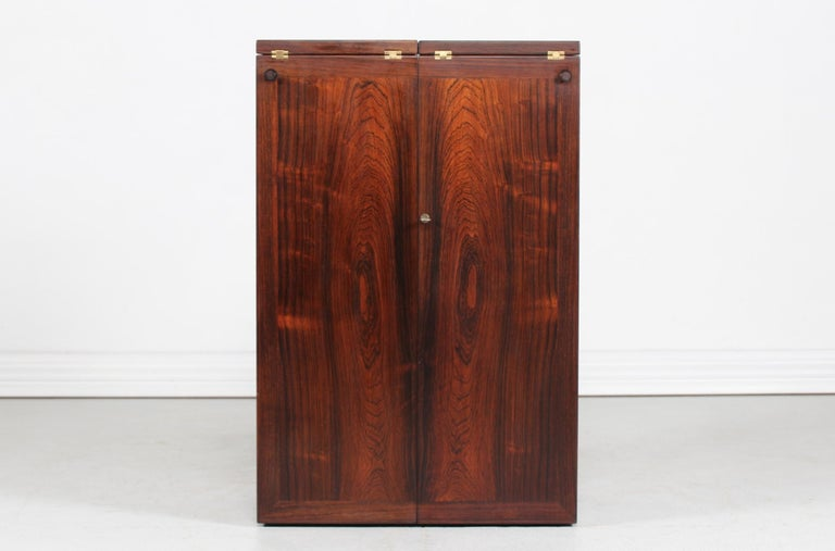 Mid-Century Modern Danish Modern Rosewood Captains Bar by Reno Wahl Iversen Made by Dyrlund, 1970s For Sale