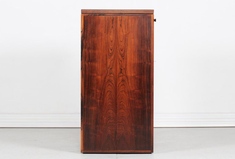 Brass Danish Modern Rosewood Captains Bar by Reno Wahl Iversen Made by Dyrlund, 1970s For Sale