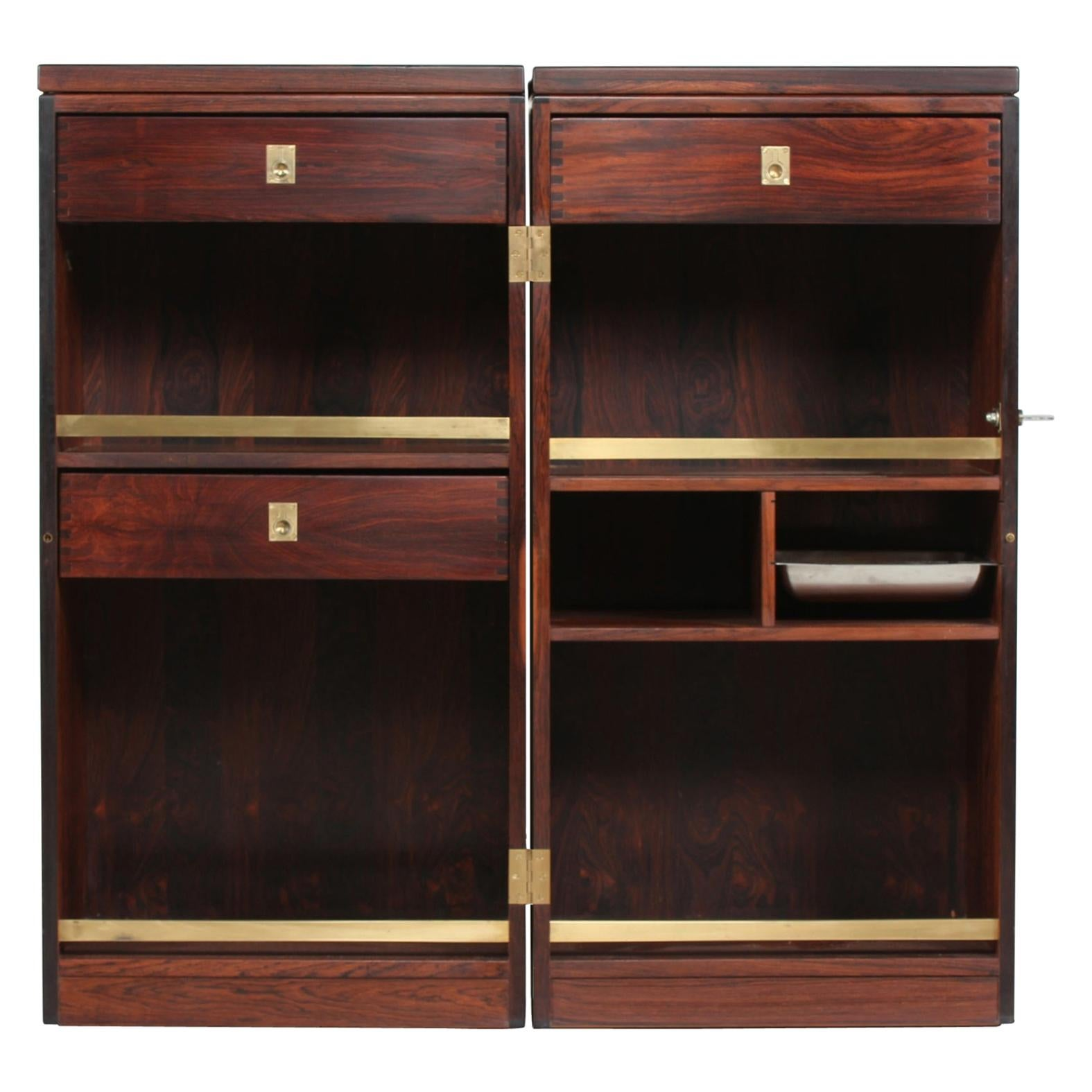 Danish Modern Rosewood Captains Bar by Reno Wahl Iversen Made by Dyrlund, 1970s
