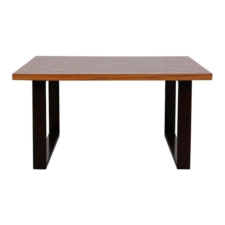 Polished Danish Mid-Century Modern Square Coffee Table For Sale