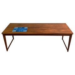 Danish Modern Rosewood Coffee Table With Ceramic Inlay
