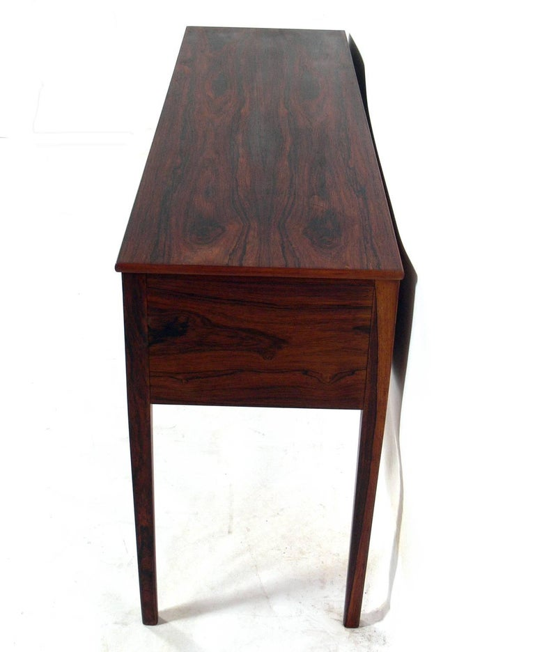 Brass Danish Modern Rosewood Console by Ole Wanscher For Sale