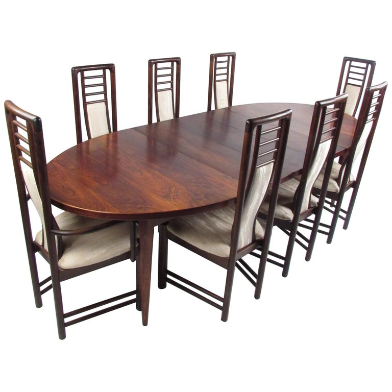 Modern Dining Table Sets On Sale: Danish Modern Rosewood Dining Table With Eight