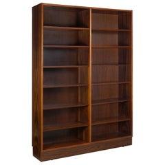 Danish Modern Rosewood Double Bookcase Bookshelf by Poul Hundevad