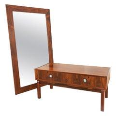 Danish Modern Rosewood Dresser and Mirror Set, 1960s
