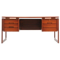 Danish Modern Rosewood Floating-Top Desk with Bookshelf by Dyrlund
