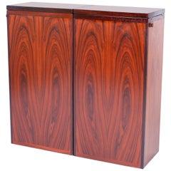 Danish Modern Rosewood Foldout Bar Cabinet