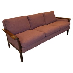 Danish Modern Rosewood Framed Upholstered Sofa by Hans Olsen, Vatne, Norway