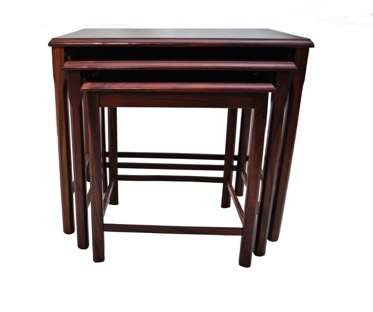 Danish Modern Rosewood Nesting E.W. Bach Toften Stacking Side End Accent Tables For Sale 4