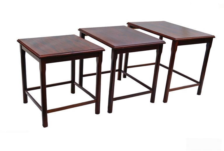 Danish rosewood nesting stackable tables by EW Bach for Mobelfabriken Toften. The largest measures: 18 3/4
