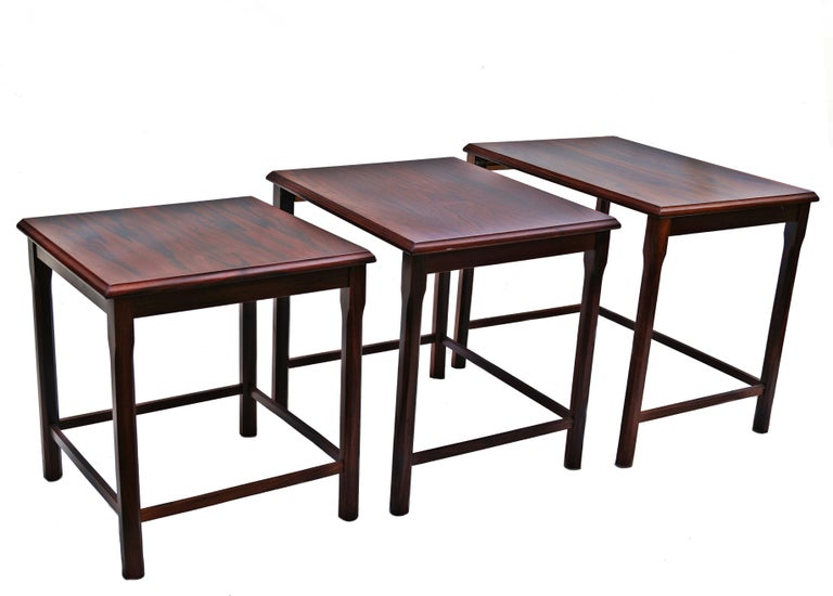 Scandinavian Modern Danish Modern Rosewood Nesting E.W. Bach Toften Stacking Side End Accent Tables For Sale