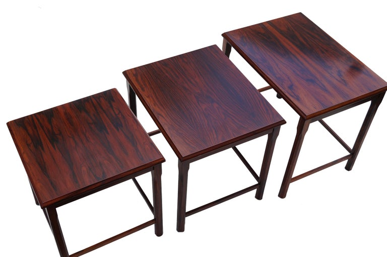 Other Danish Modern Rosewood Nesting E.W. Bach Toften Stacking Side End Accent Tables For Sale