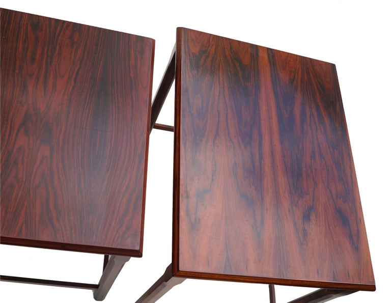 Mid-20th Century Danish Modern Rosewood Nesting E.W. Bach Toften Stacking Side End Accent Tables For Sale